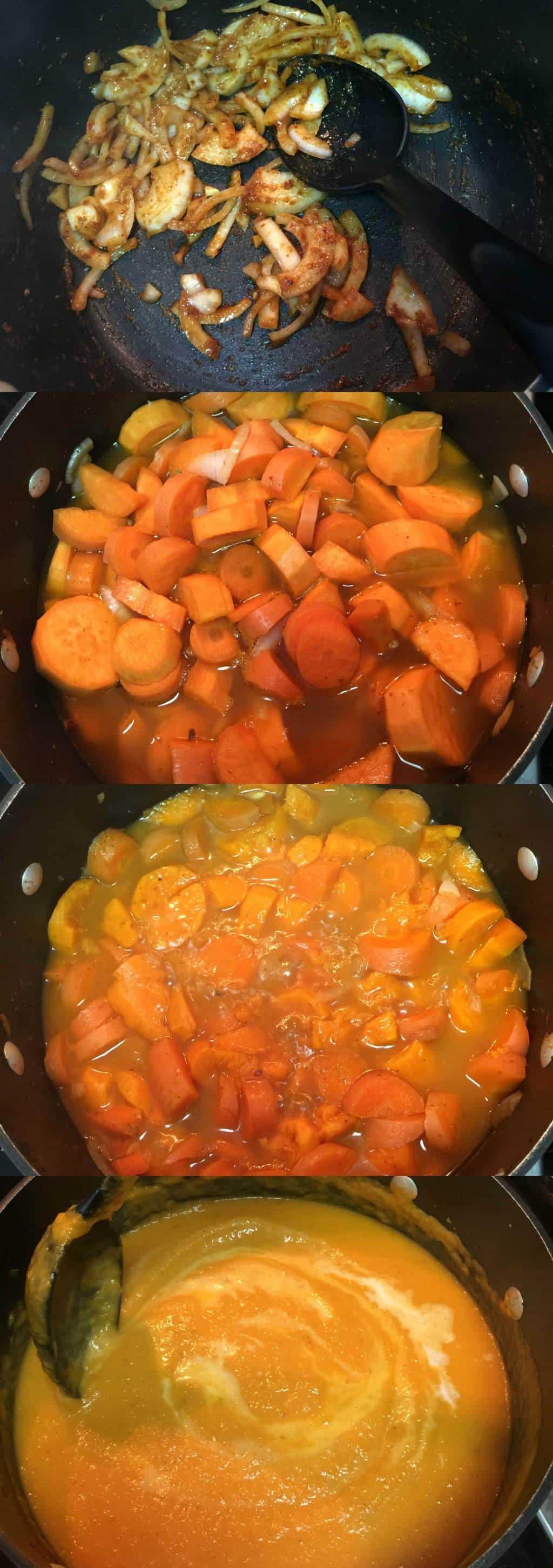 Making a Spicy Thai Carrot and Sweet Potato Soup #vegan #lovingitvegan #appetizer #soups