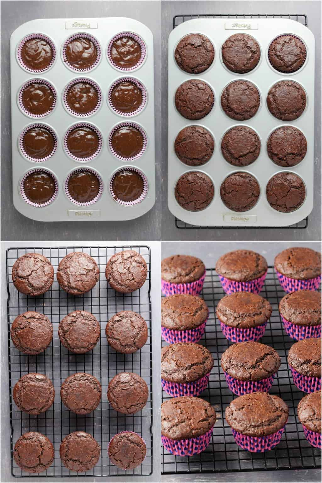 Step by step process photos of making gluten-free chocolate cupcakes