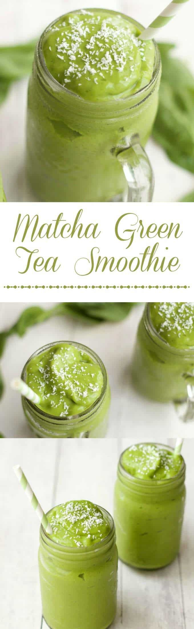 Matcha Green Tea Smoothie, quick and easy 5-Ingredient recipe. #vegan #lovingitvegan #matcha #greentea #greensmoothie #smoothie #glutenfree #dairyfree