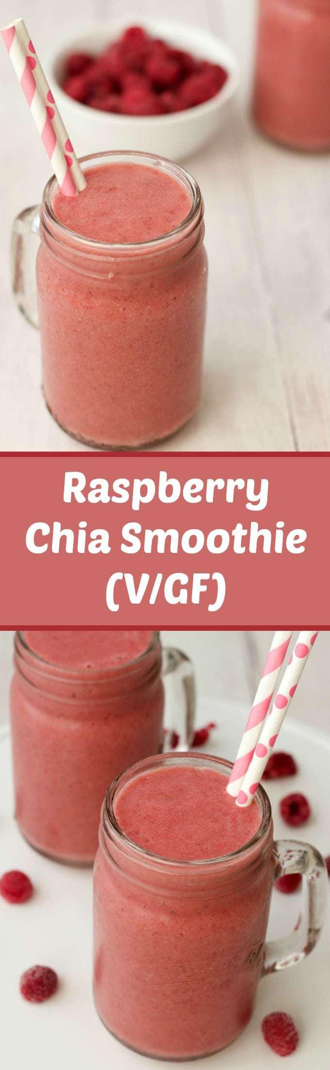 Raspberry Chia Smoothie #vegan #lovingitvegan #smoothie #chia #glutenfree #dairyfree