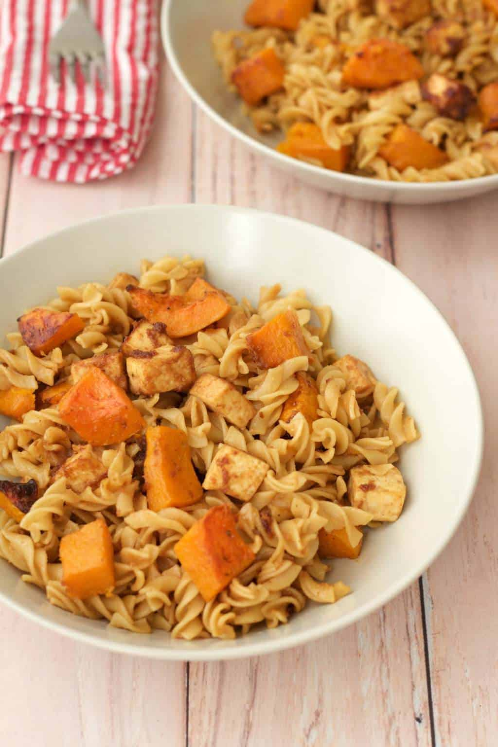 Spicy Peanut Pasta with Roasted Butternut and Crispy Tofu #vegan #lovingitvegan #entree #pasta #dinner