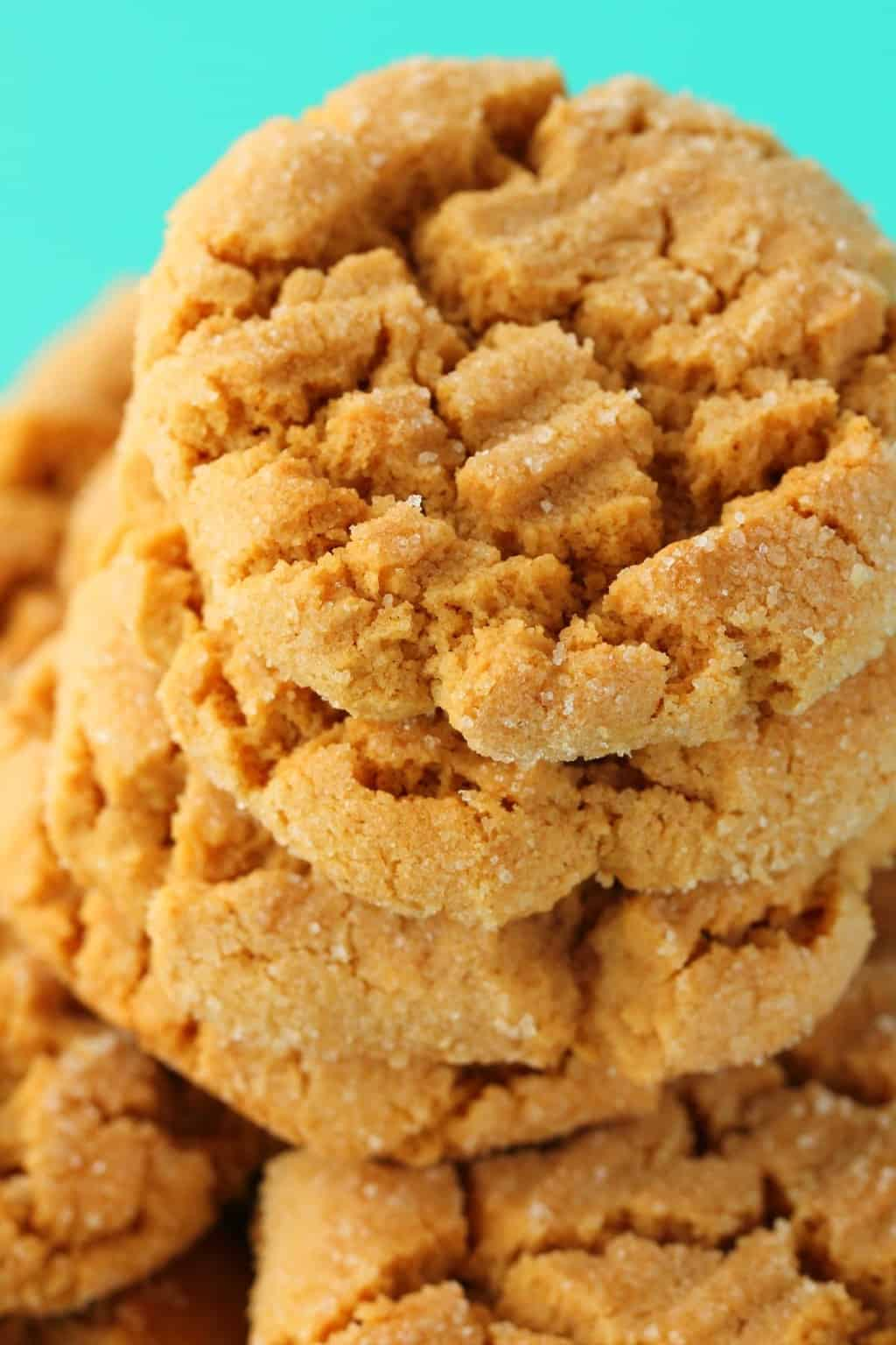 A stack of vegan peanut butter cookies.
