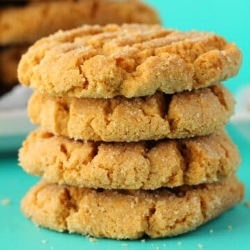 Vegan peanut butter cookies in a stack of four.
