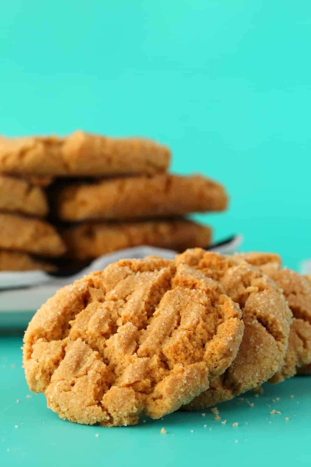 Vegan peanut butter cookies in a row.