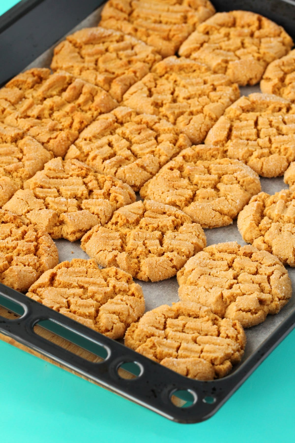 Vegan Peanut Butter Cookies on a baking tray freshly baked straight out of the oven.