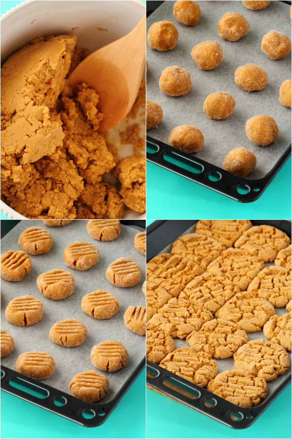 Step by step process photo collage of making vegan peanut butter cookies.