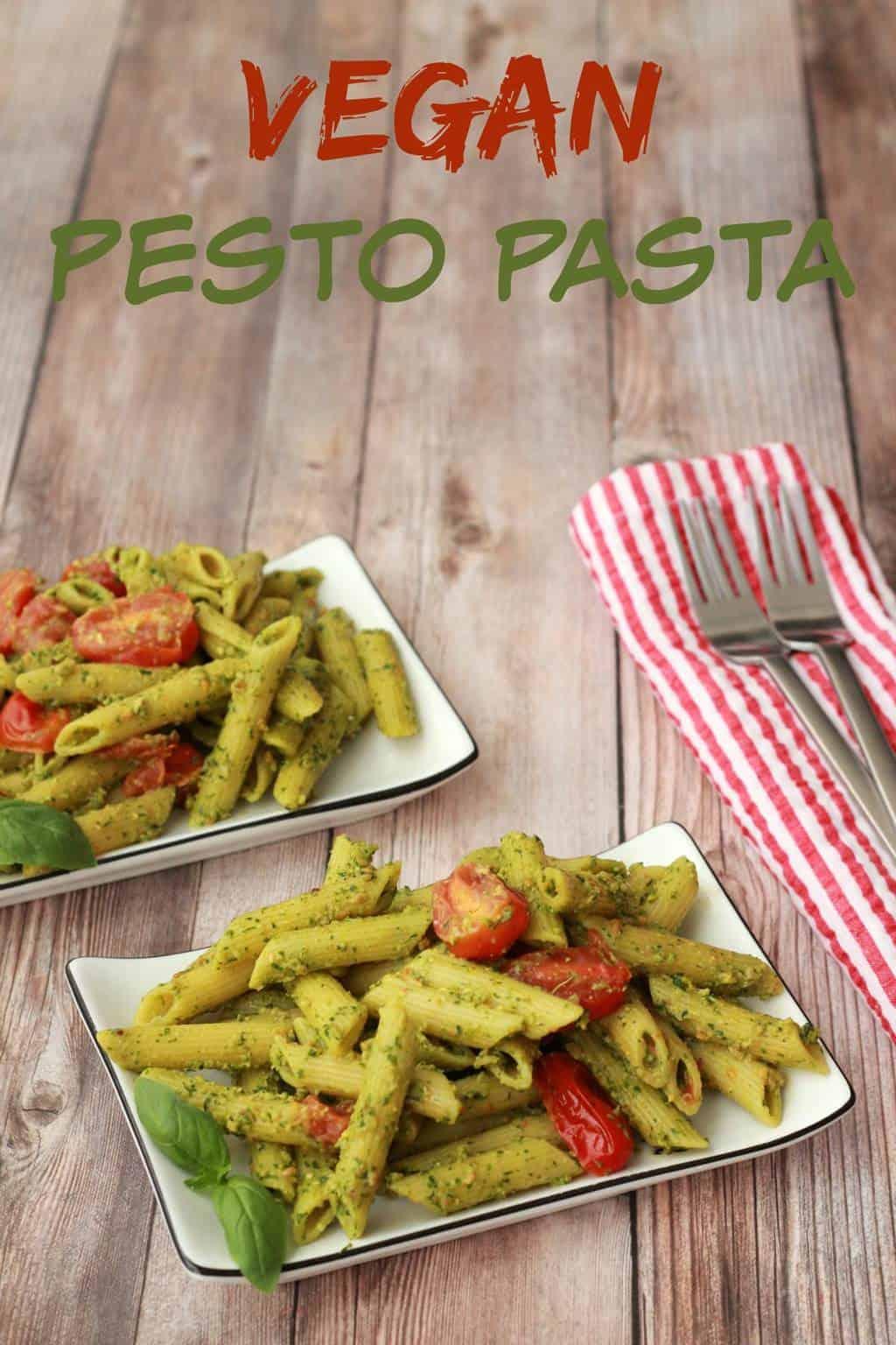 Vegan Pesto Pasta with Pan-Roasted Cherry Tomatoes #vegan #lovingitvegan #entree #pesto #pasta #dairyfree