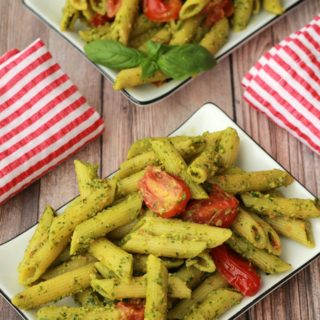Vegan Pesto Pasta with Pan-Roasted Cherry Tomatoes