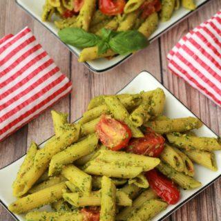 Vegan Pesto Pasta with Pan-Roasted Cherry Tomatoes