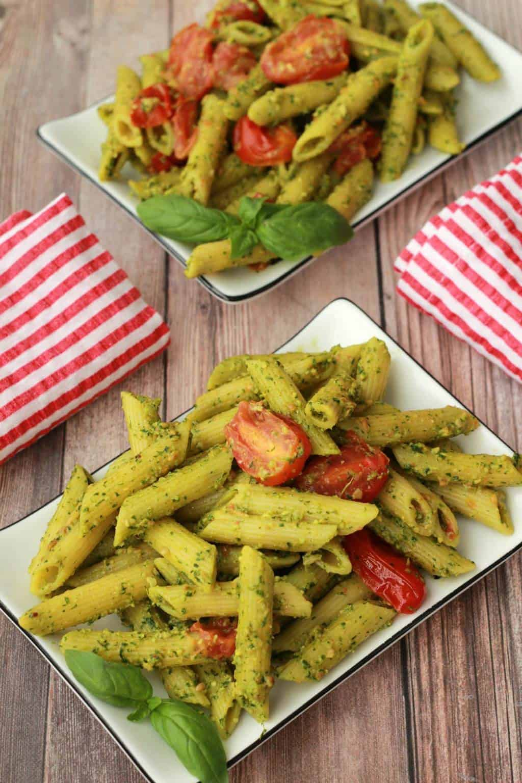 Vegan Pesto Pasta with Pan-Roasted Cherry Tomatoes #vegan #lovingitvegan #entree #pesto #pasta #dairyfree