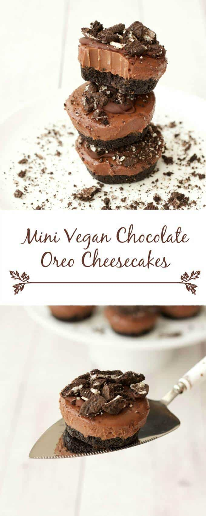 Mini Vegan Chocolate Cheesecakes #vegan #lovingitvegan #cheesecakes #dessert #dairyfree #oreos
