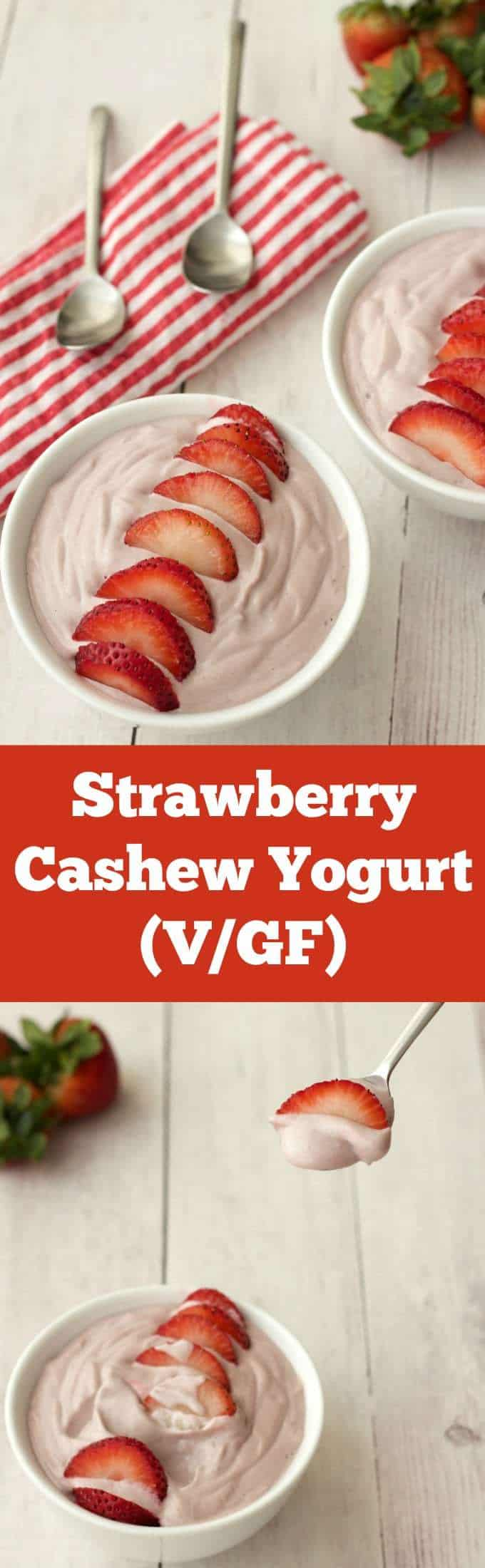 Smooth and creamy strawberry cashew yogurt. Perfectly sweet with the mild tartness that any self respecting yogurt needs! Vegan and Gluten-free. Vegan | Vegan Yogurt | Gluten-Free | Dairy-Free | lovingitvegan.com