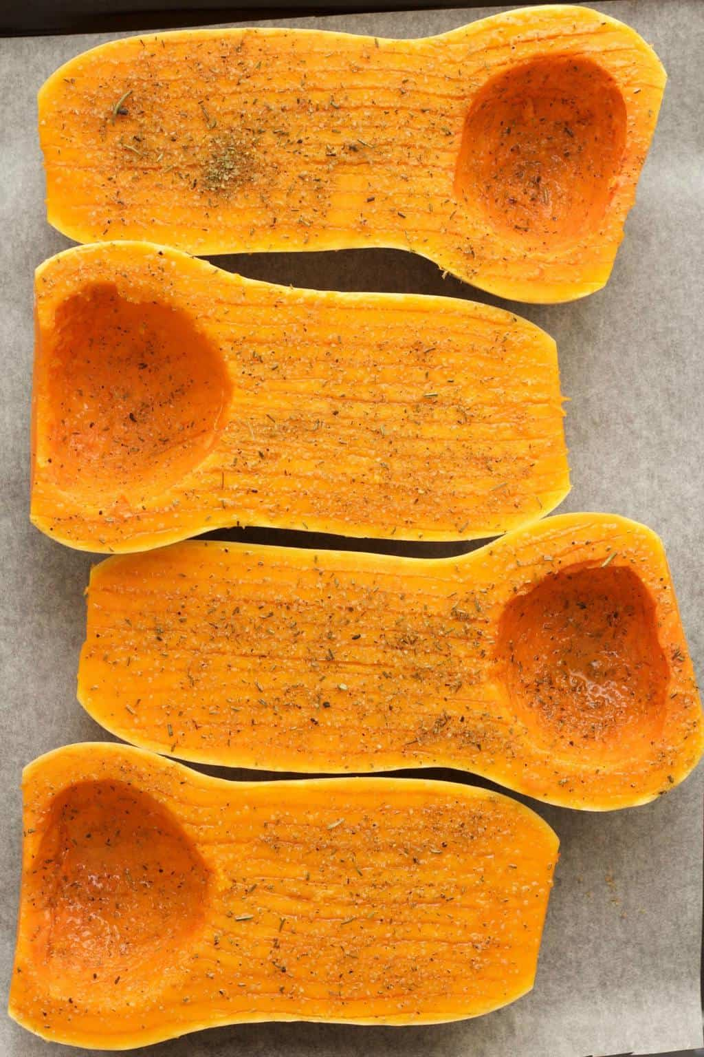 Making Stuffed Roasted Butternut #vegan #lovingitvegan #glutenfree #entree