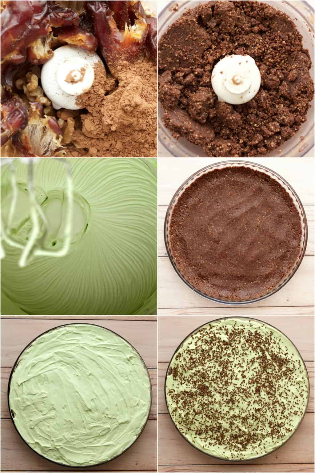 Step by step process photo collage of making a vegan grasshopper pie.