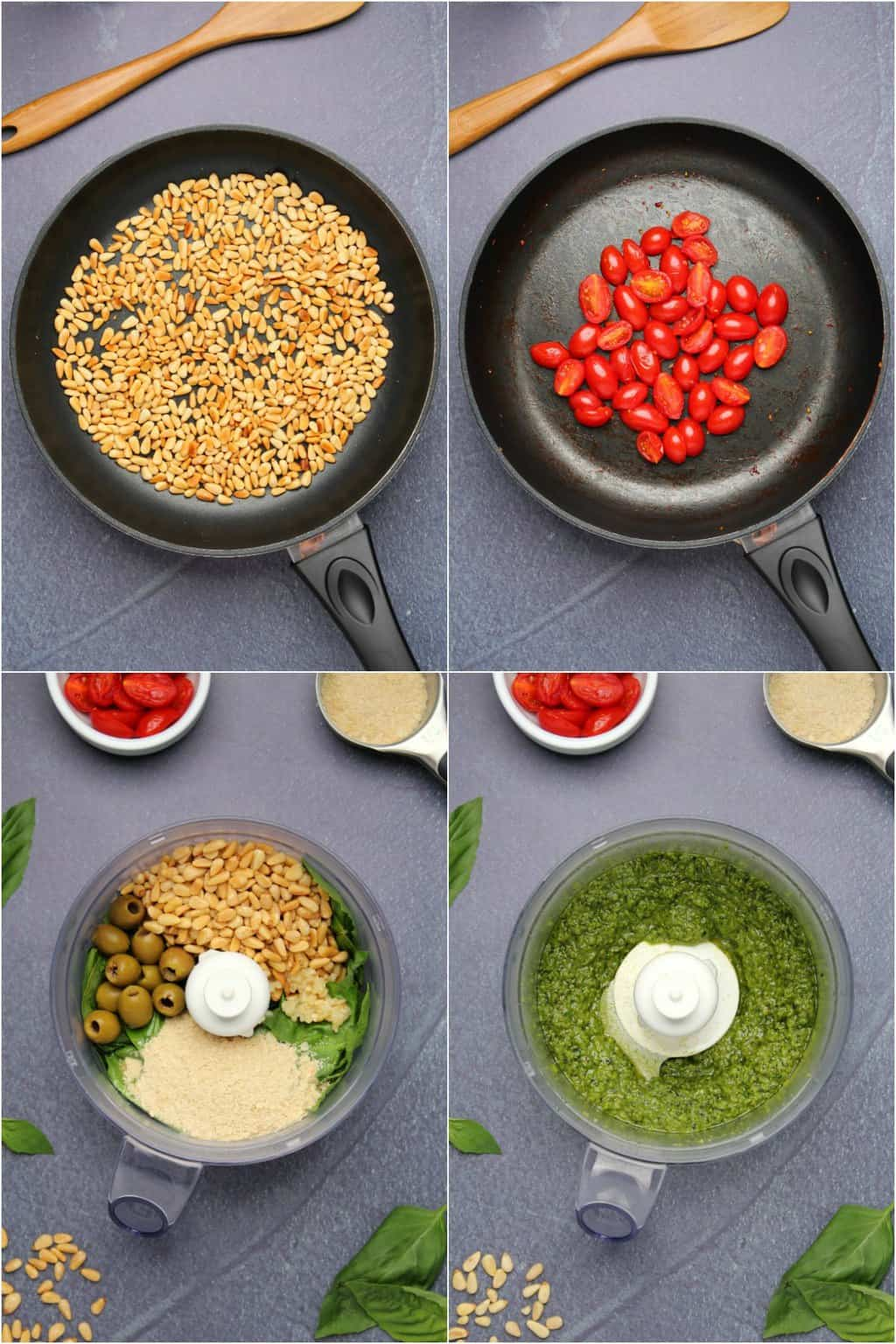 Step by step process photo collage of making vegan pesto pasta.
