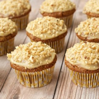 Gluten-Free Carrot Cake Cupcakes with Cashew Cream Frosting