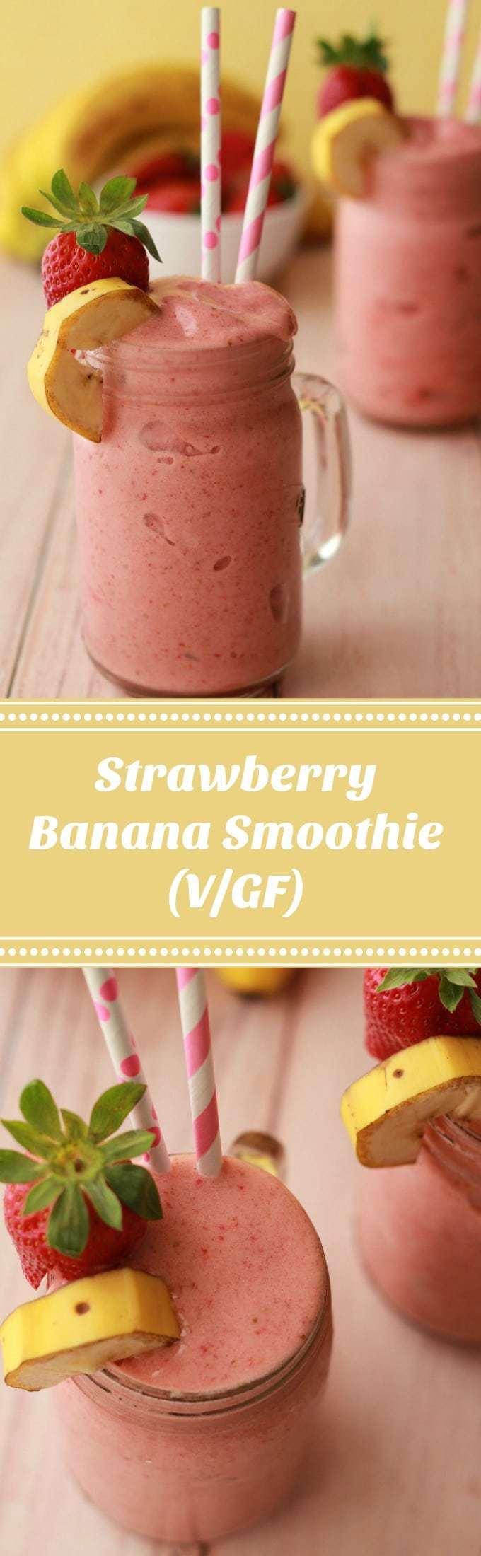 Strawberry Banana Smoothie #vegan #strawberrybanana #smoothies #glutenfree #dairyfree
