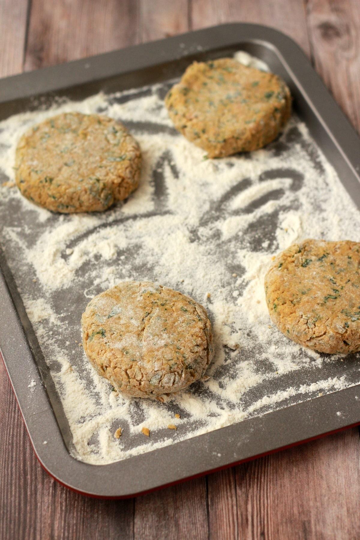 Making Vegan Chickpea Burgers #vegan #lovingitvegan #veggieburgers