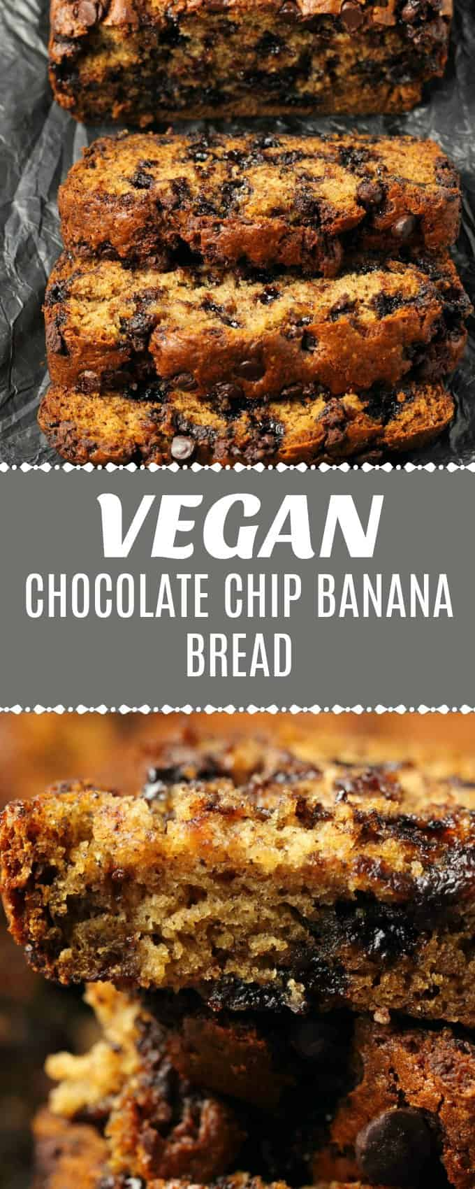 Vegan chocolate chip banana bread that is perfectly moist, rich, deliciously sweet and packed with banana flavor! Ideal for dessert or breakfast! | lovingitvegan.com