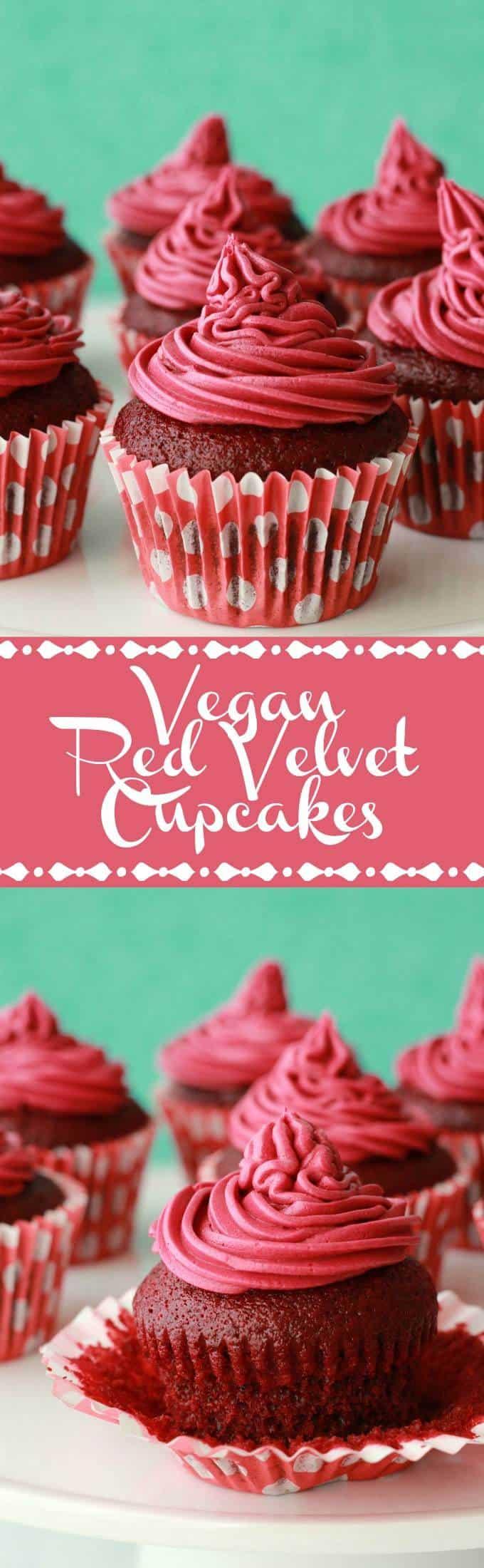 Vegan Red Velvet Cupcakes with Red Velvet Frosting #vegan #lovingitvegan #redvelvet #cupcakes #dessert #dairyfree