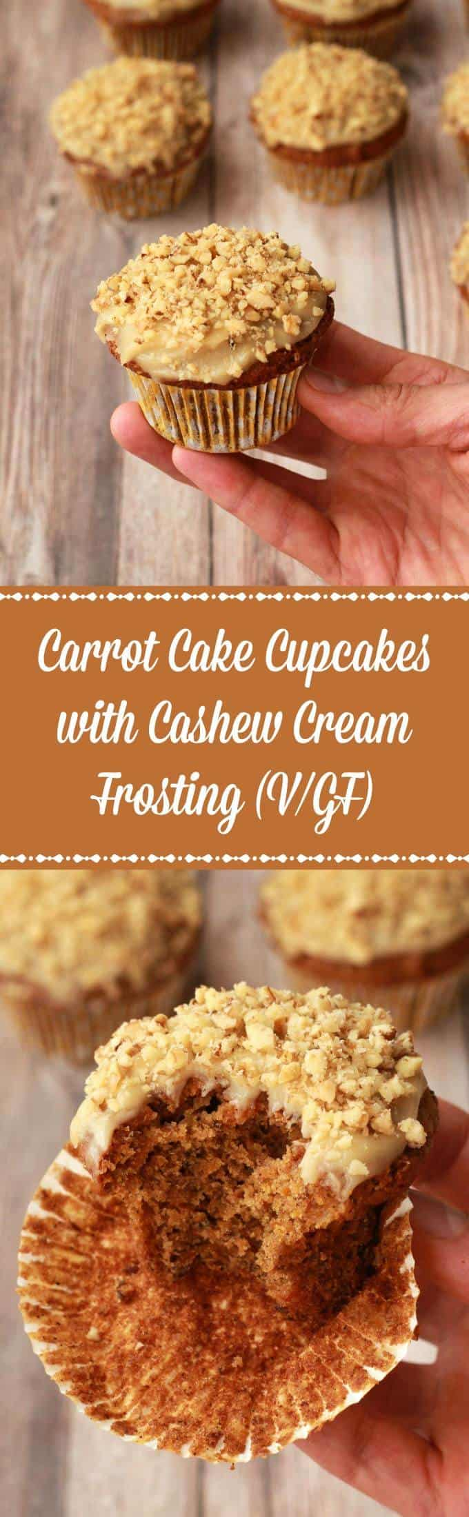 Gluten-Free Carrot Cake Cupcakes with Cashew Cream Frosting #vegan #lovingitvegan #glutenfree #carrotcake #cupcakes #dessert