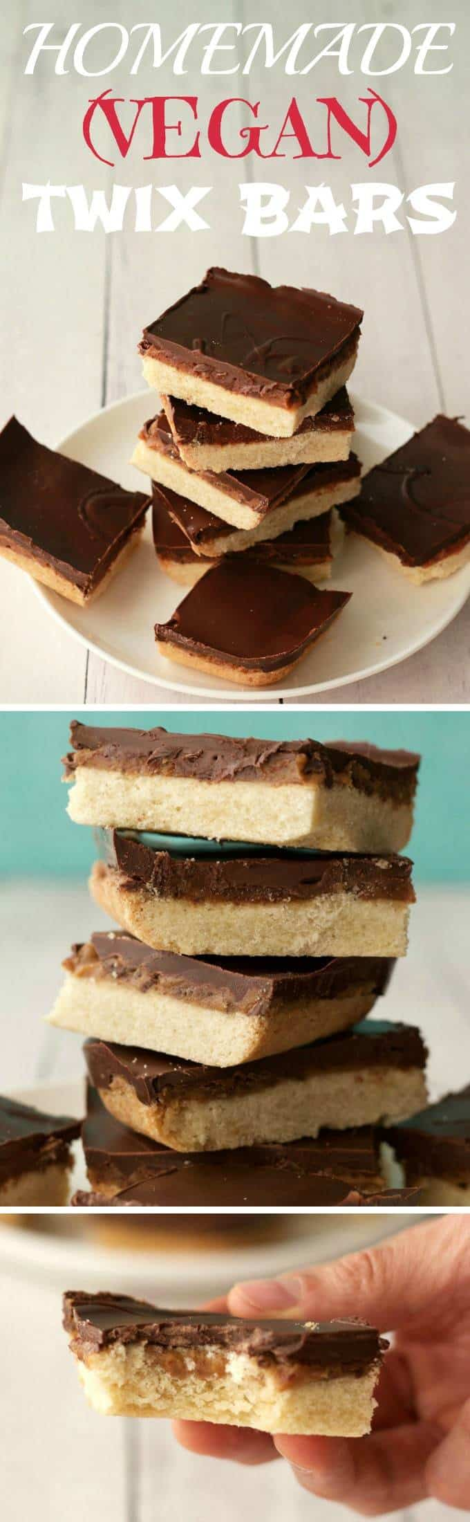 Vegan homemade twix bars, a perfectly crunchy shortbread base, with a creamy gooey date caramel center and a vegan dark chocolate topping. | lovingitvegan.com