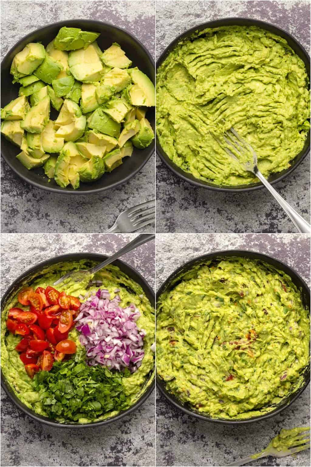 Step by step process photo collage of making vegan guacamole.