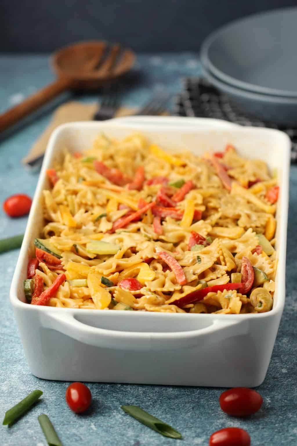 Vegan pasta salad in a rectangular white dish.