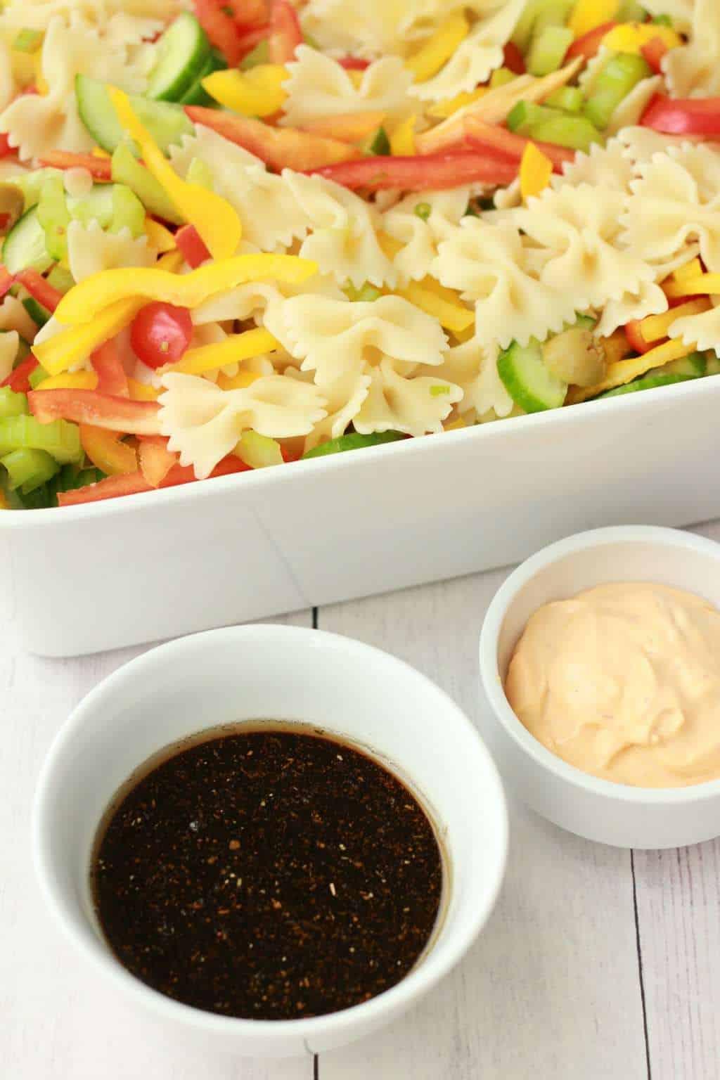 Vibrantly colorful vegan pasta salad, ready in 15 minutes! #vegan #lovingitvegan #pastasalad #entree