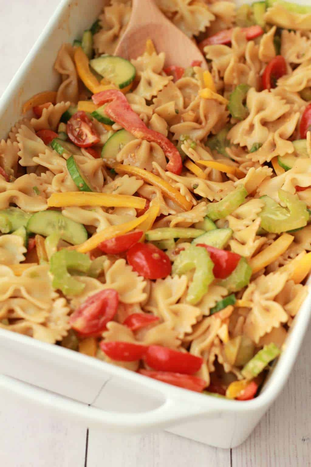 Vibrantly colorful vegan pasta salad, ready in 15 minutes! #vegan #lovingitvegan #pastasalad #entree