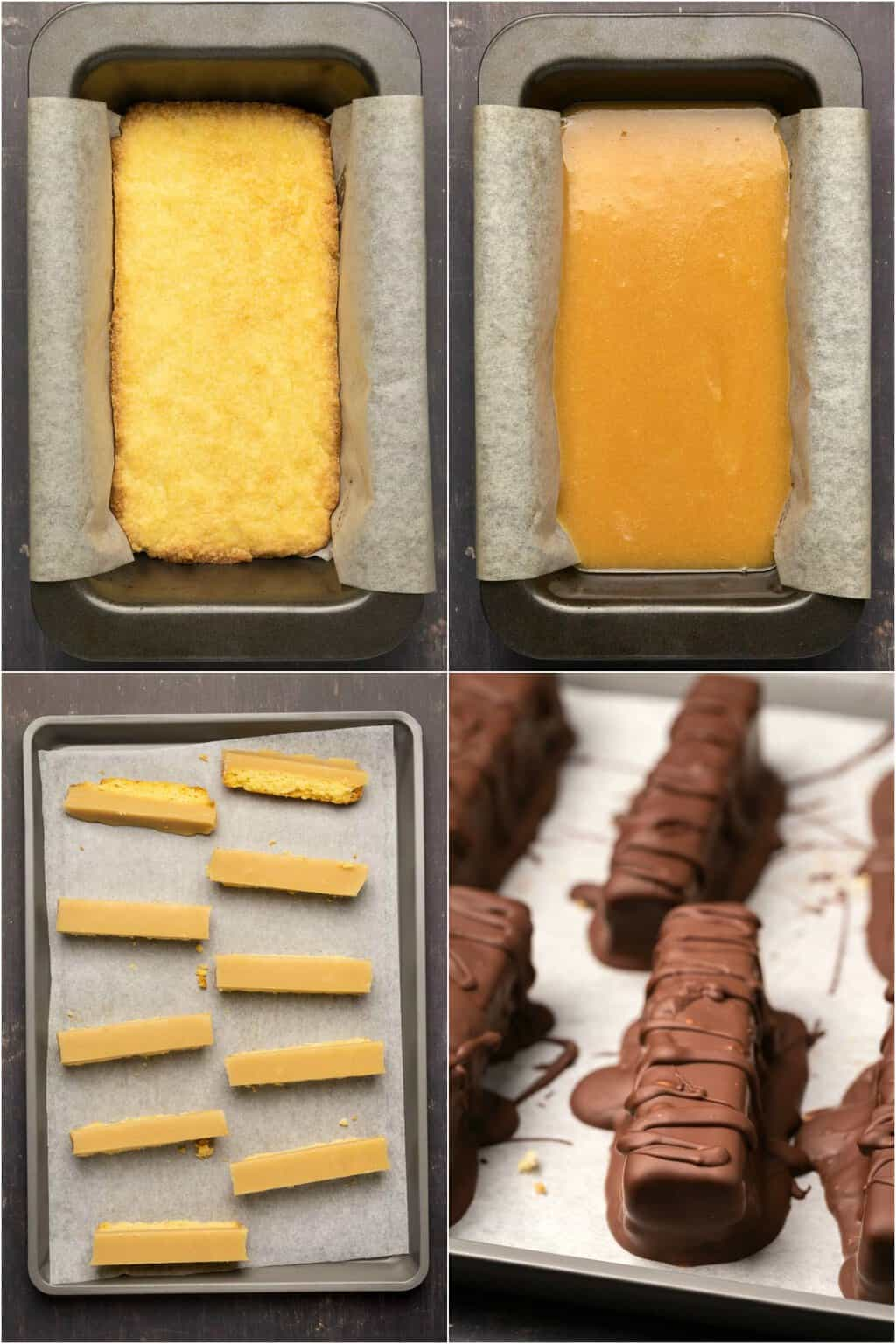 Step by step process photo collage of making vegan twix.