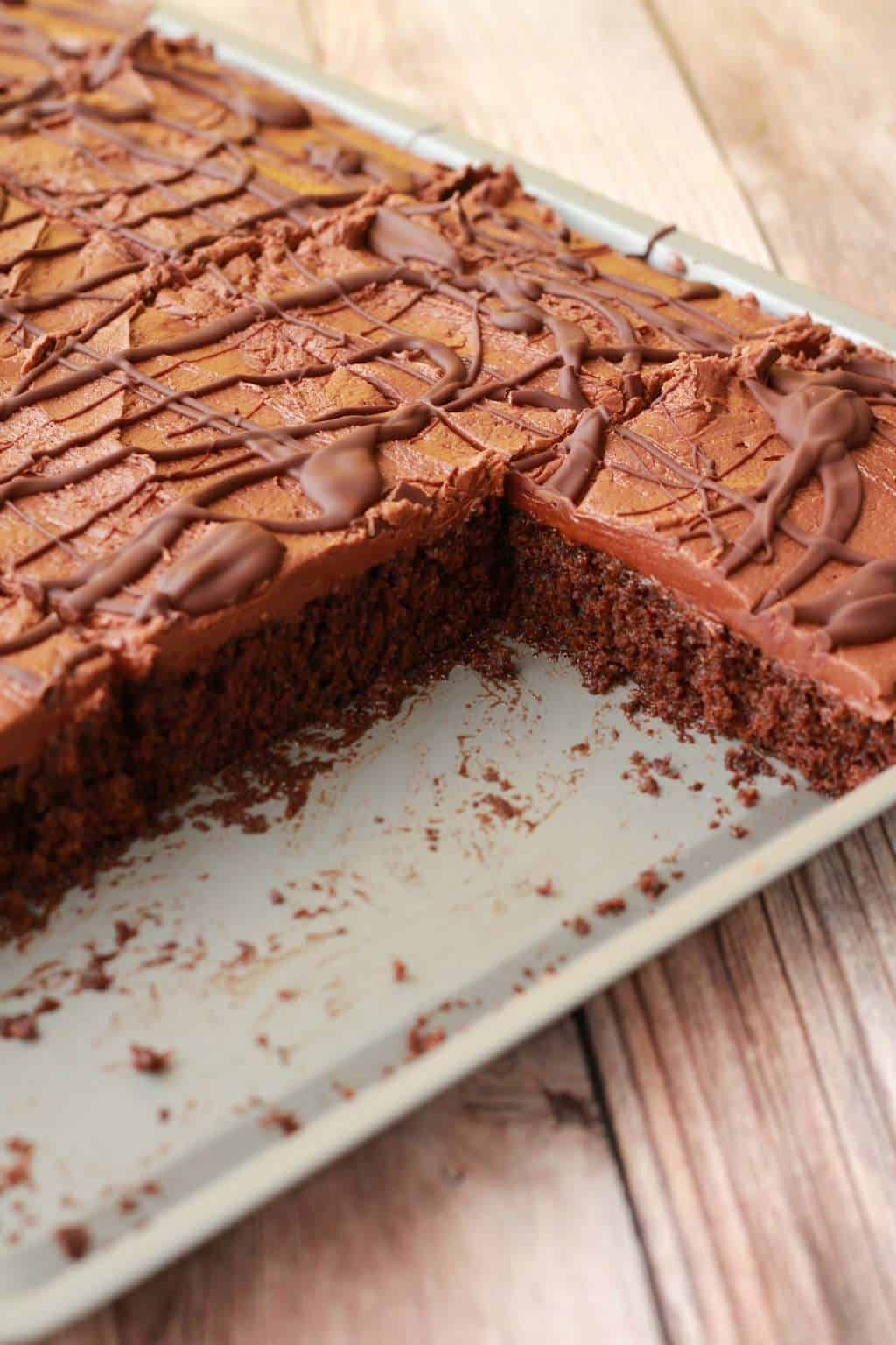 Chocolate Sheet Cake with Chocolate Fudge Frosting #vegan #lovingitvegan #vegancake #dessert #sheetcake