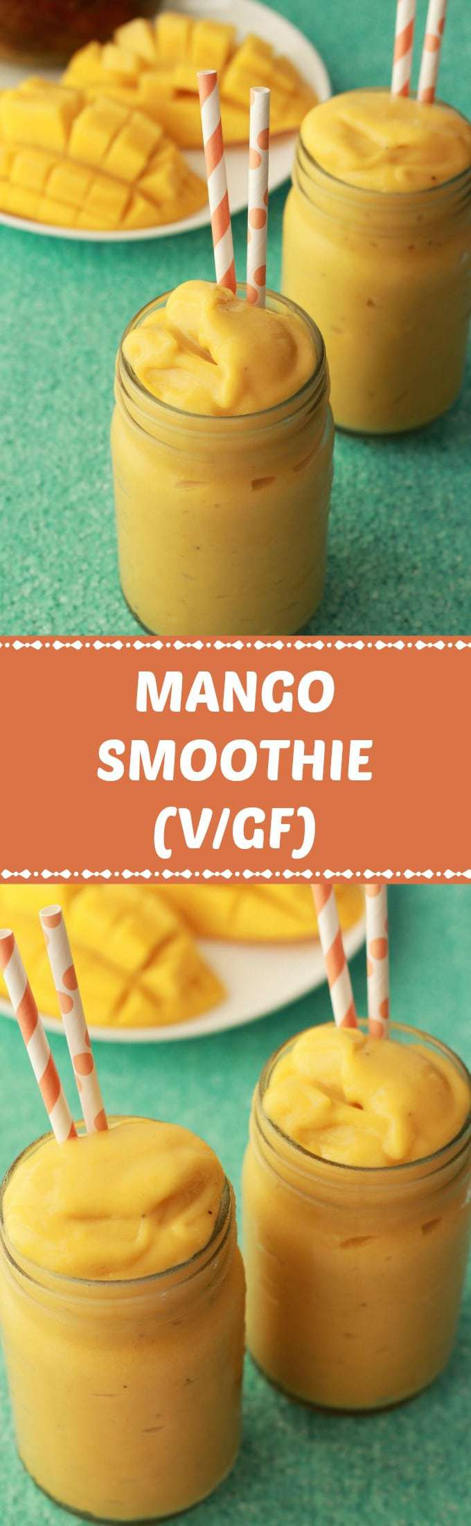 Ultra creamy and delicious mango smoothie! Just 2-ingredients and 5 minutes and you have the most delicious healthy breakfast shake. #vegan #lovingitvegan #smoothie #mangosmoothie #breakfast #fruit