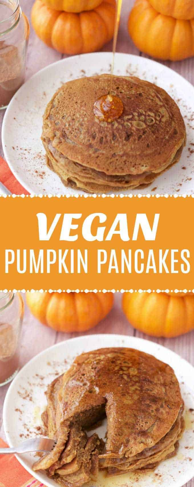 Deliciously spiced vegan pumpkin pancakes! Richly satisfying and ideal for breakfast served with vegan butter, syrup and sprinkles of pumpkin pie spice! | lovingitvegan.com
