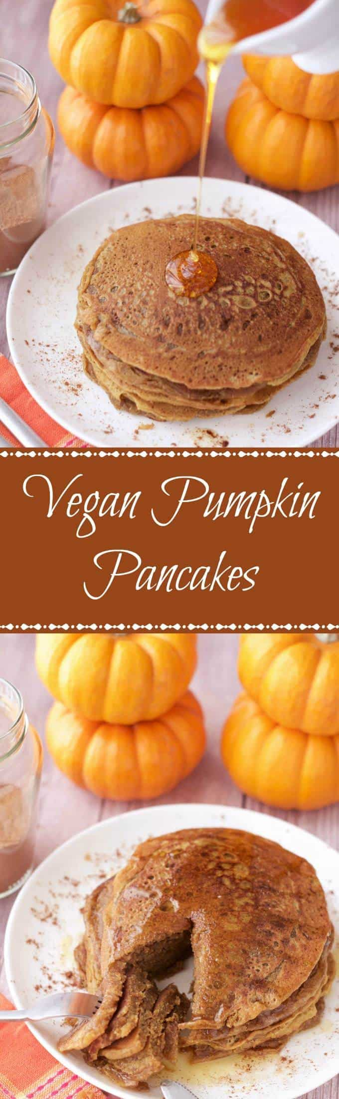 Vegan Pumpkin Pancakes. Perfectly spiced and fabulous for breakfast! #vegan #lovingitvegan #pumpkinpancakes #breakfast