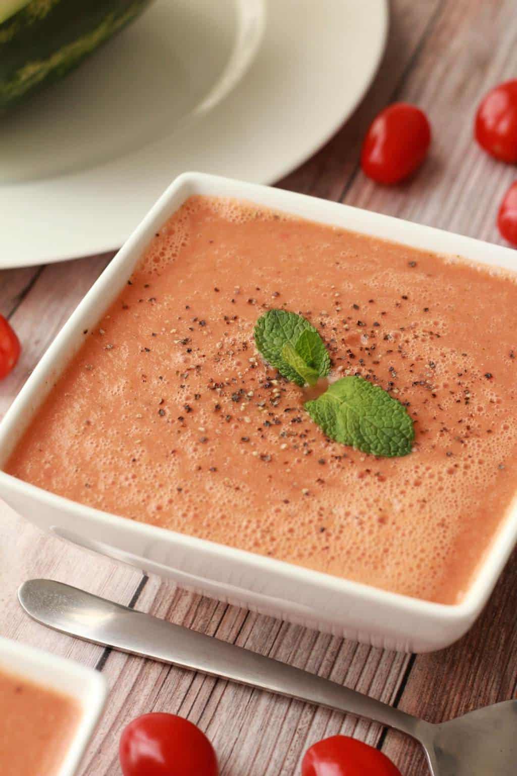 Watermelon Gazpacho, fabulously fresh and vibrant! #vegan #lovingitvegan #watermelon #gazpacho #rawvegan