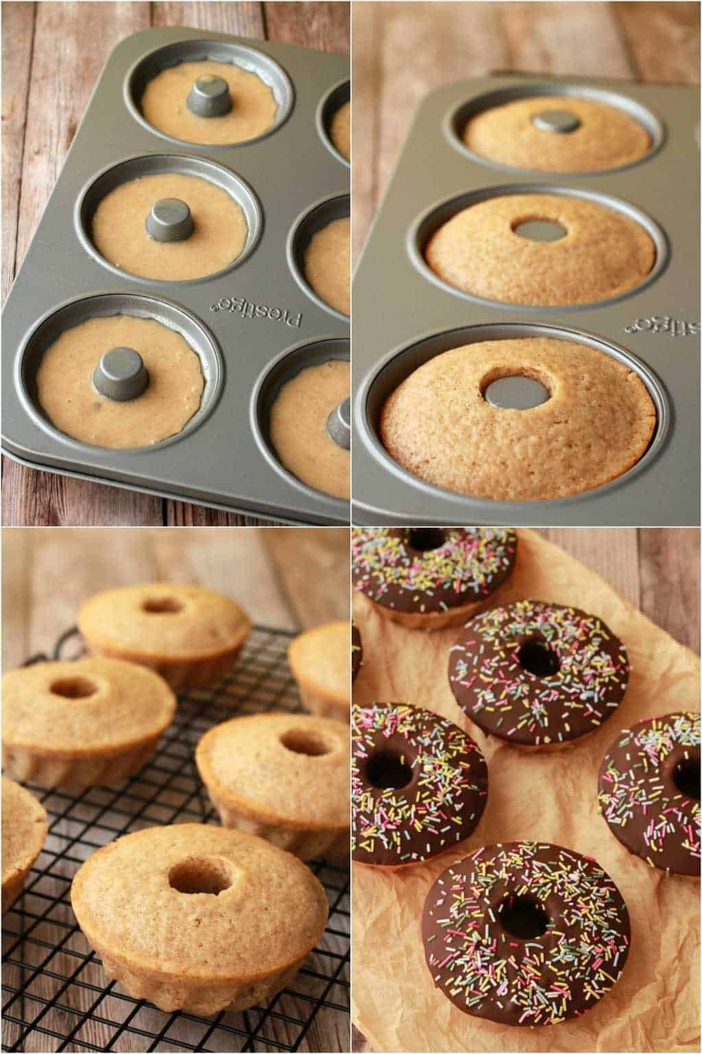 Step by step process photo collage of making vegan donuts.