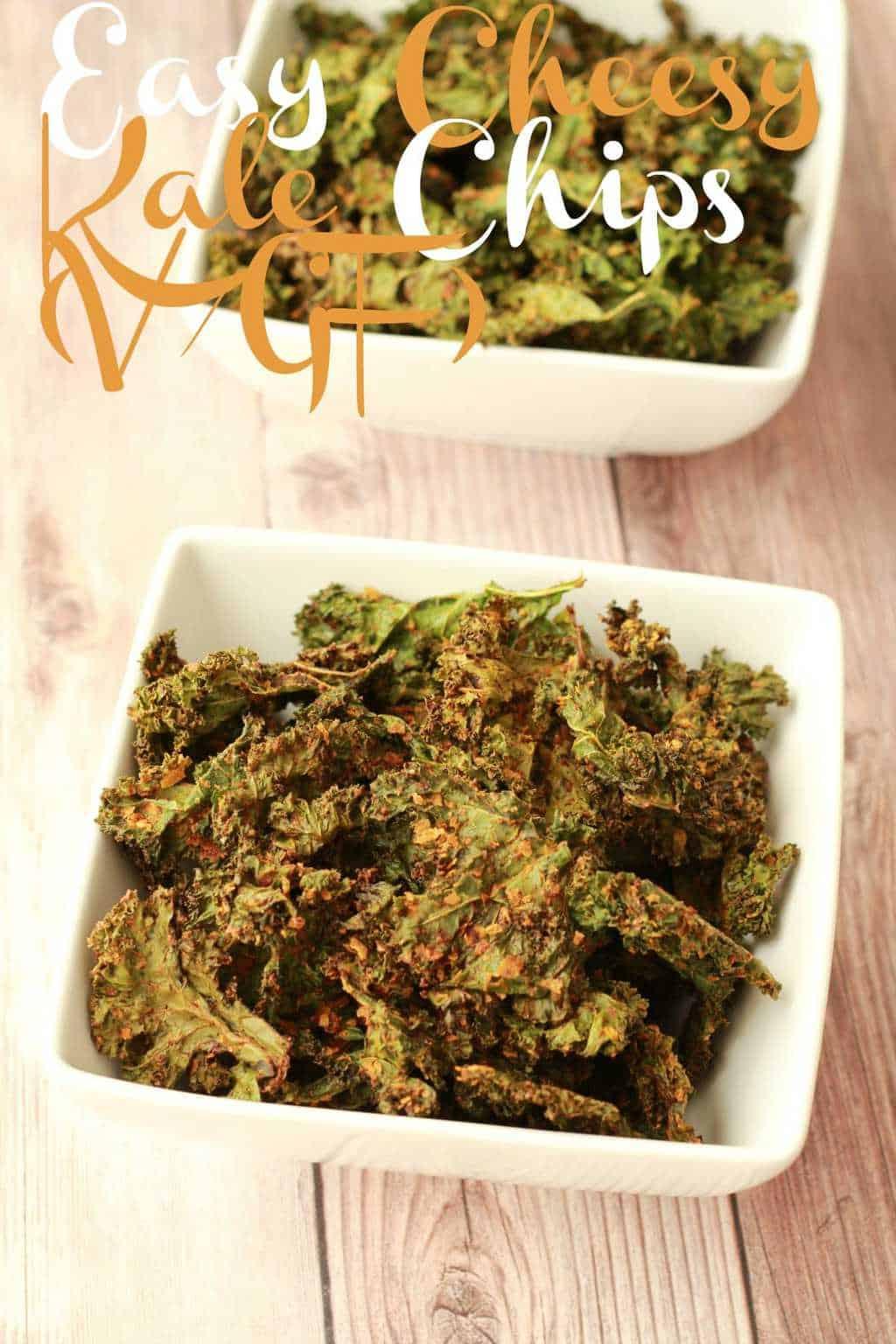Easy Cheesy Kale Chips. Crispy, savory, cheesy and super healthy! #vegan #lovingitvegan #glutenfree #kalechips #snacks
