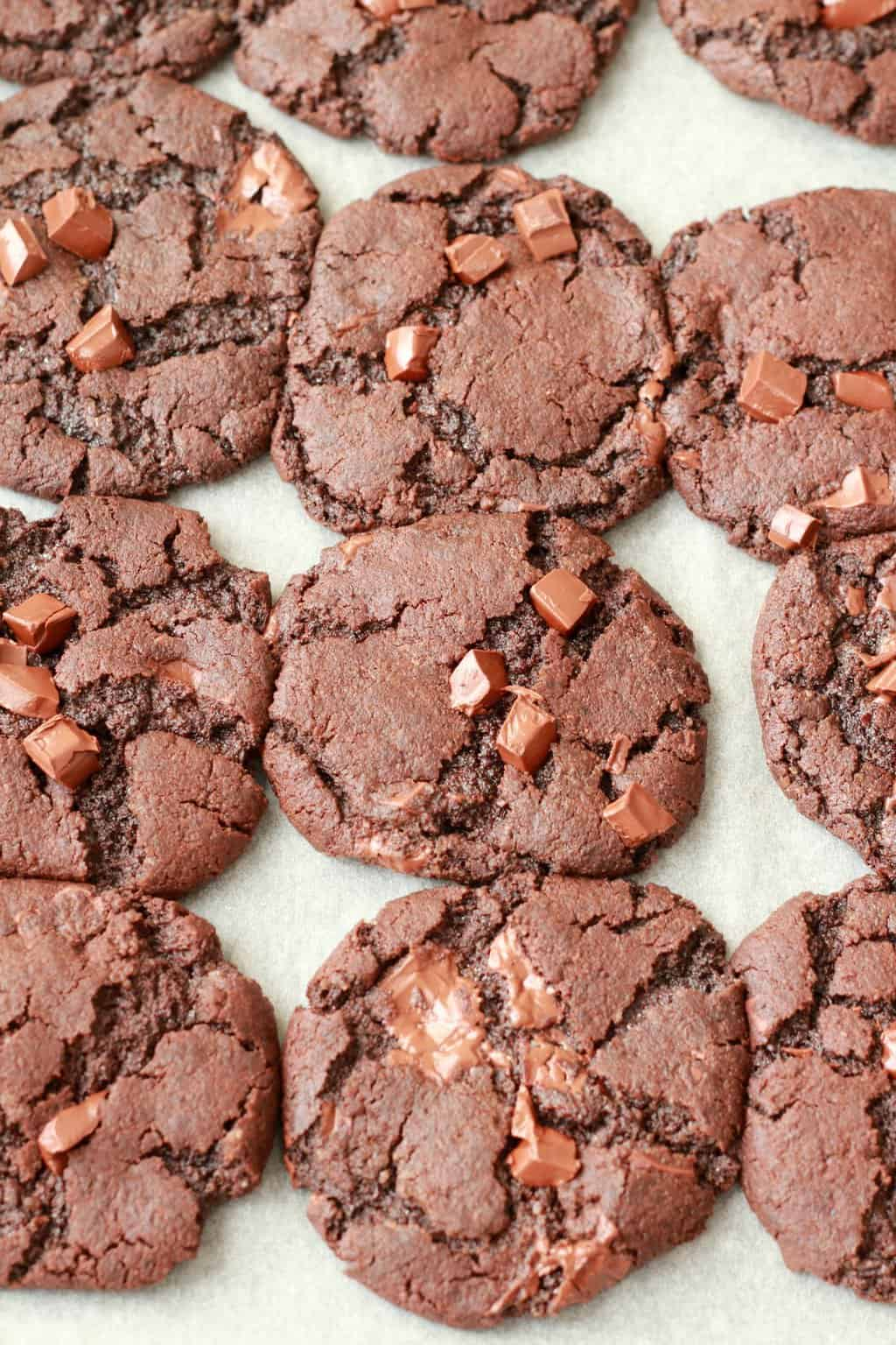 Vegan chocolate cookies on a parchment lined baking tray freshly baked.