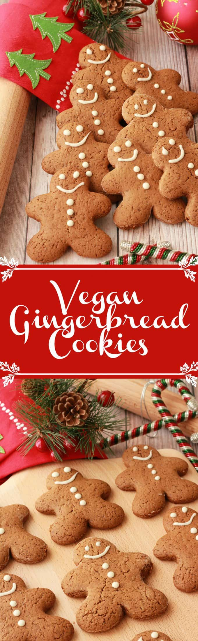 Festive and fun vegan gingerbread cookies. These gingerbread men are crisp on the outside, soft on the inside and packed with ginger and brown sugar flavor. | Vegan | Vegan Cookies | Vegan desserts | lovingitvegan.com