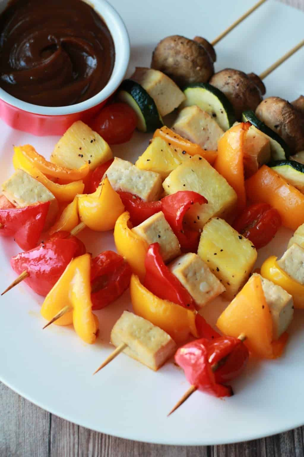 Fabulously colorful Vegetable Skewers served with a soy peanut dipping sauce! #vegan #lovingitvegan #glutenfree #healthy #vegetableskewers #kebabs