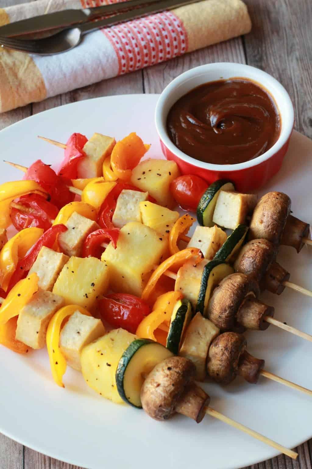 Vegetable Skewers (Kebabs) with Soy Peanut Dipping Sauce