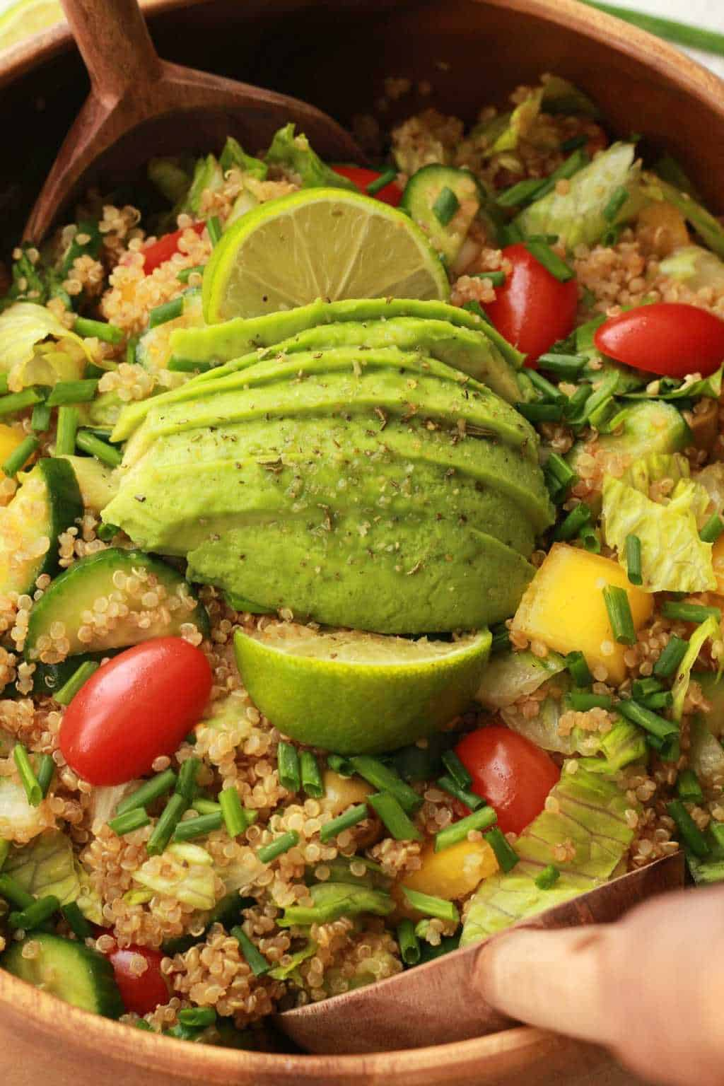 Fabulously healthy Quinoa Salad with Sesame Soy Dressing. Vegan and Gluten-free! #vegan #lovingitvegan #glutenfree #quinoasalad #entree