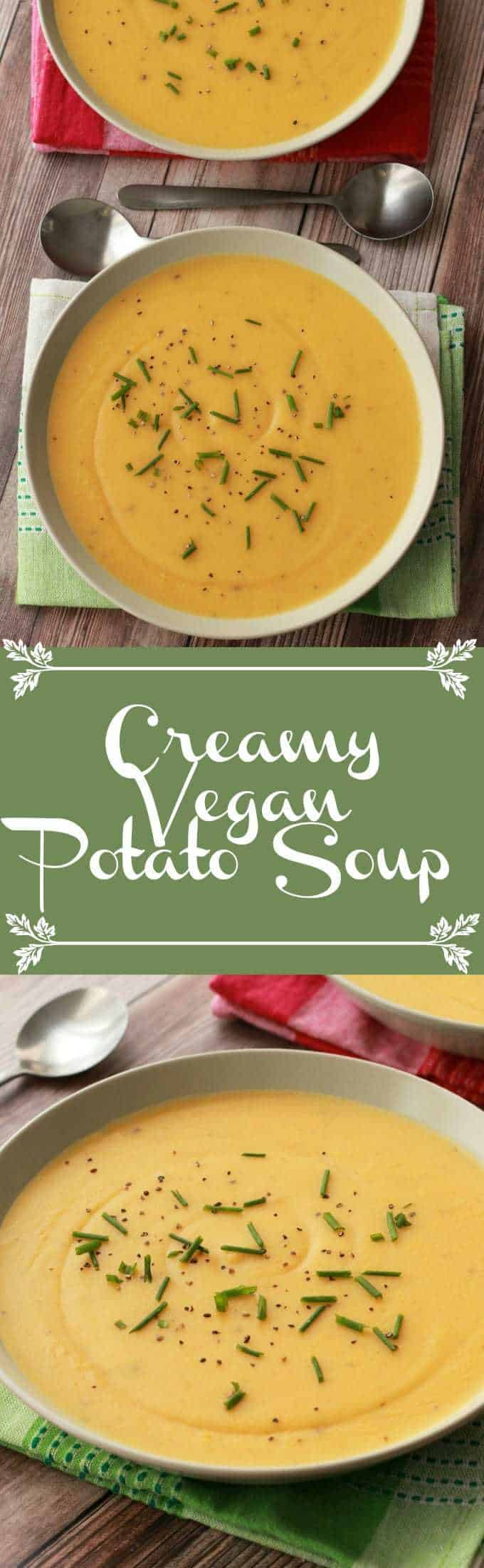 Creamy vegan potato soup! So hearty and satisfying you can have it as an entree! #vegan #lovingitvegan #soup #glutenfree #potatosoup