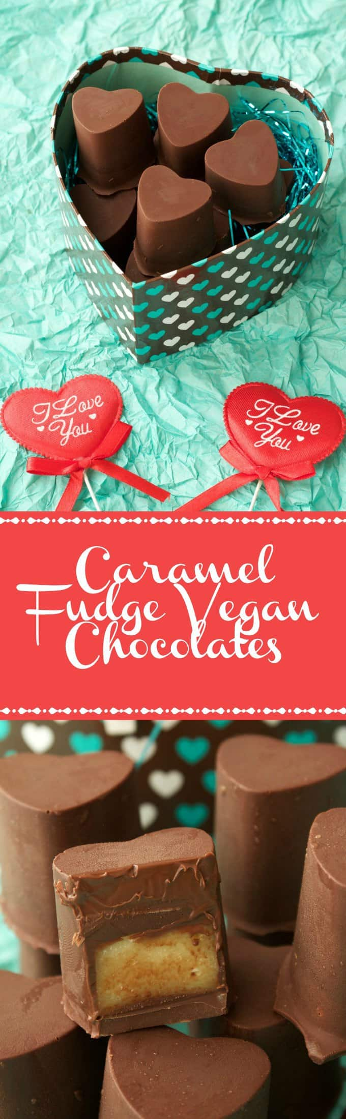 These heart-shaped caramel fudge vegan chocolates are perfect for a romantic occasion such as Valentines Day. Vegan, gluten-free, easy and fun. | lovingitvegan.com