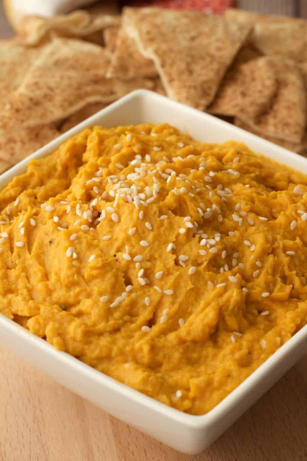 Roasted Butternut Squash Hummus. Vegan and Gluten-Free. Delicious served with flat breads or raw veggies. #vegan #lovingitvegan #hummus #appetizer #butternutsquash