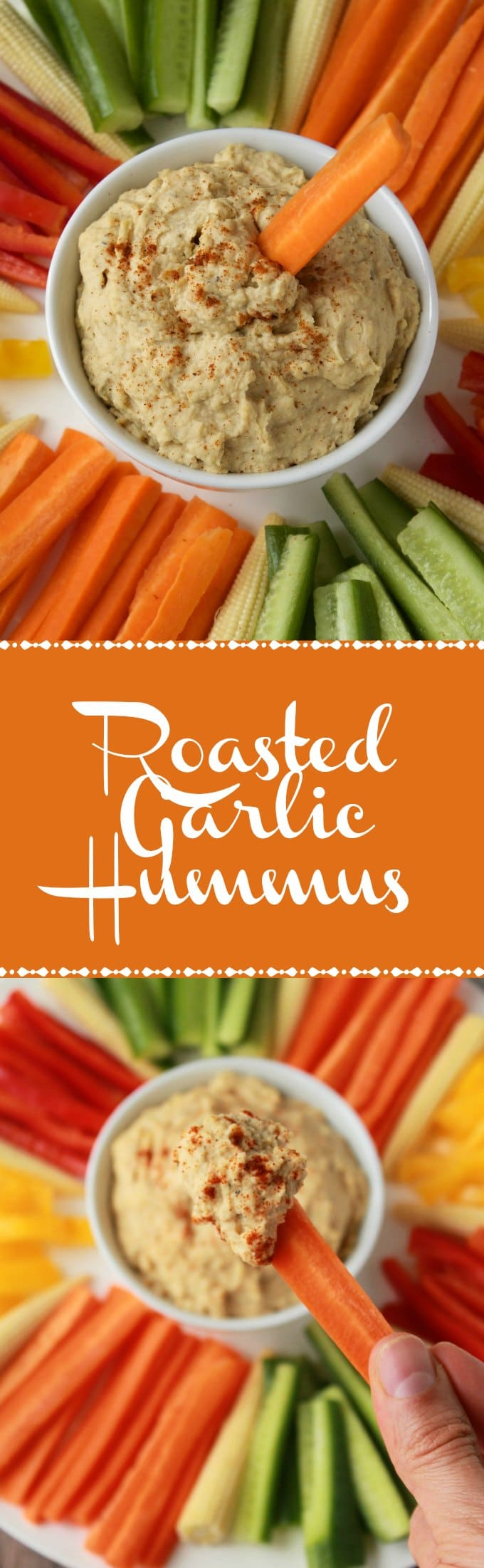 Creamy and Delicious Roasted Garlic Hummus. Vegan and Gluten-Free. Ideal as an appetizer or dip! #vegan #lovingitvegan #hummus #roastedgarlic #dip #glutenfree