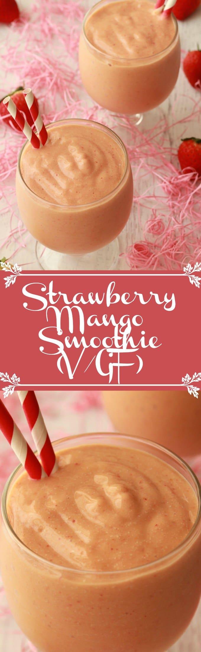Deliciously creamy Strawberry Mango Smoothie. Perfect for a healthy vegan breakfast! #vegan #lovingitvegan #glutenfree #dairyfree #strawberrymango #smoothies
