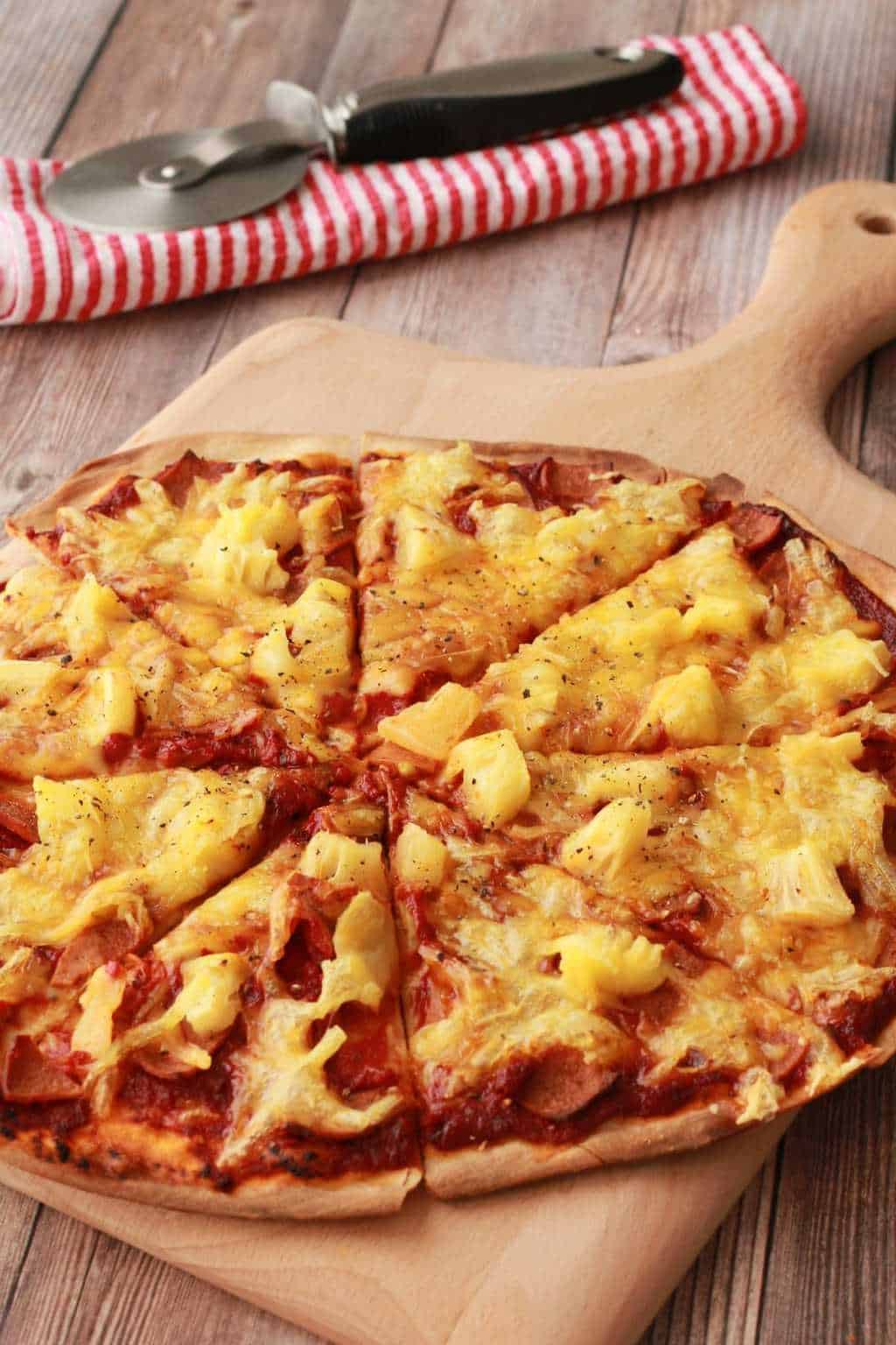 Thin-Crust Hawaiian Vegan Pizza