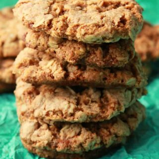Vegan oatmeal cookies in a stack.